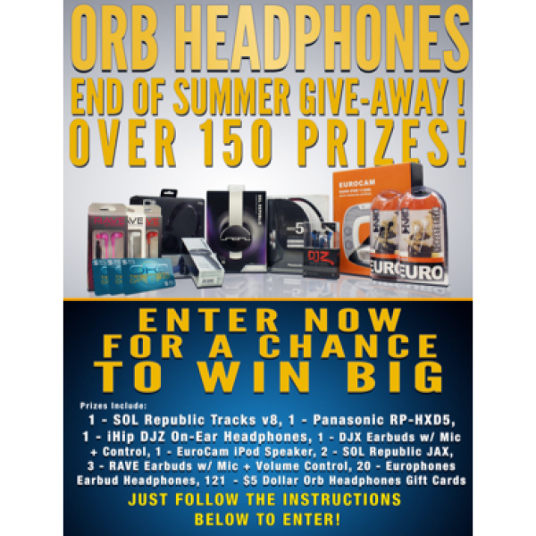 Win 150 Prizes from Orb Headphones