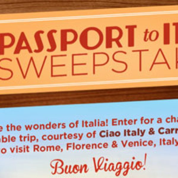 Win a 7-night Trip for two to Italy!