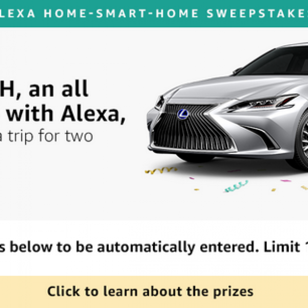 Amazon: Win $50,000, a 2019 Lexus ES and More
