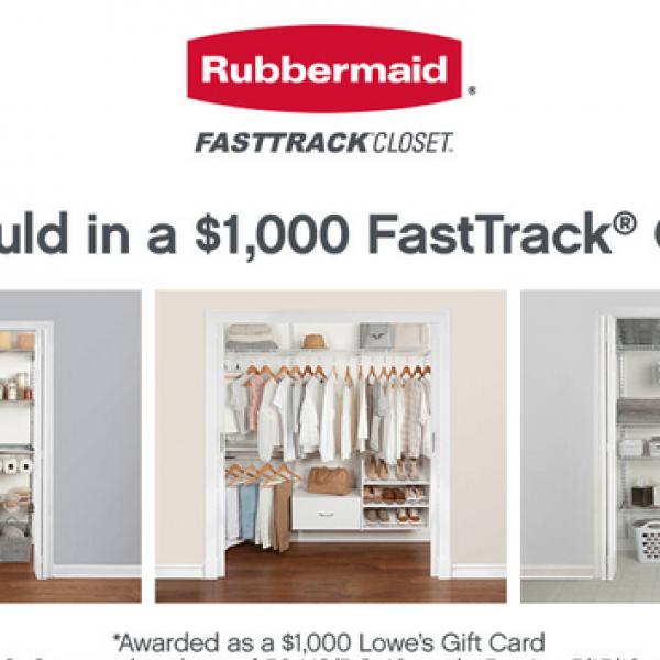 Rubbermaid: Win a $1,000 Lowe's Gift Card