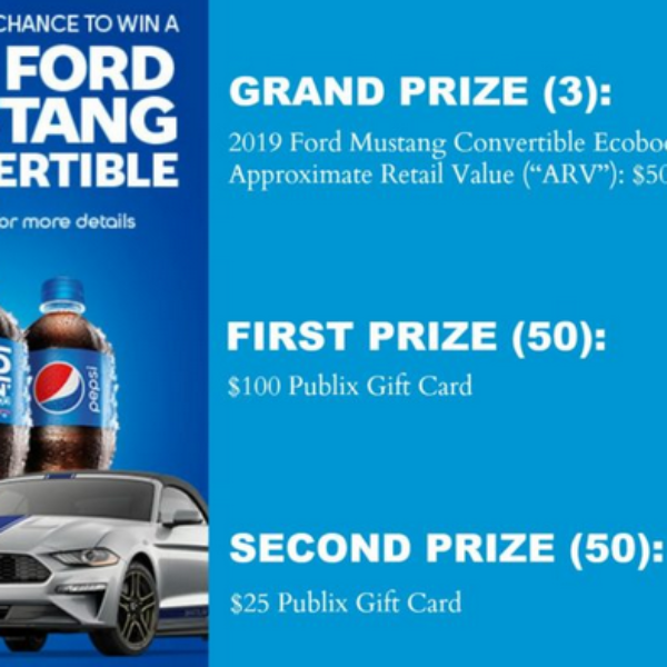 Pepsi: Win 1 of 3 Ford Mustang Convertibles