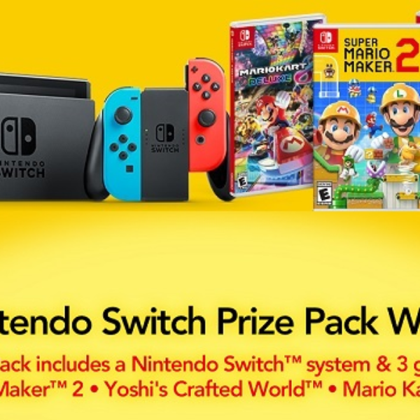 Cold Stone Creamery: Win a Nintendo Switch, Super Mario Maker 2, Yoshi's Crafted World, and Mario Kart 8 Deluxe