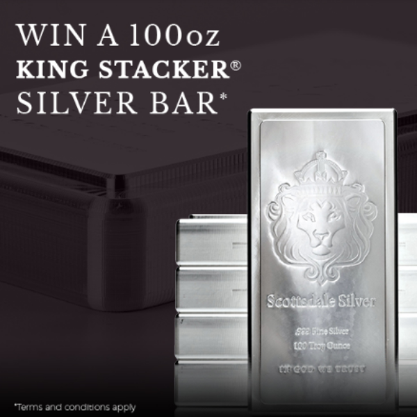 Scottsdale Mint: Win a 100 ounce King Stacker Silver Bar worth $1,400