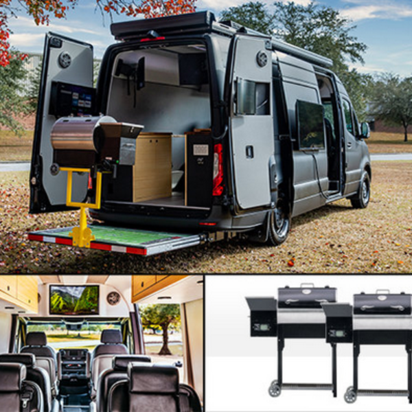 "FOX Sports Radio: Win a Mercedes-Benz Van that includes one 55"" television, five 27"" monitors, and 2 wood pellet grills"