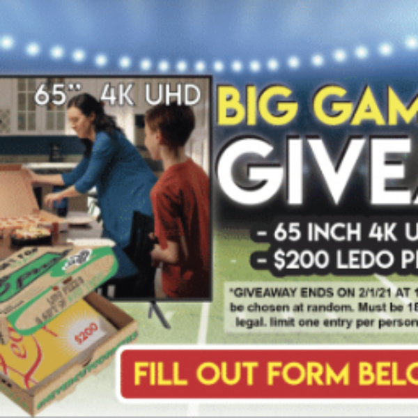 Ledo Pizza: Win a Samsung 65-inch 4K Smart TV and a $200 Ledo Pizza gift card